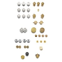 6. the collection of buttons, studs and personal memorabilia