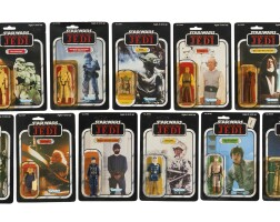 35. eleven star wars return of the jedi '77a-back' action figures, 1984
