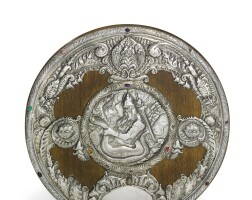346. a gem-set silver and wood charger, khlebnikov, moscow, 1908-1917