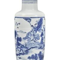 315. 清康熙 青花開光牛郎織女圖棒槌瓶  