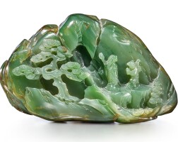9. a green jade 'landscape' boulder qing dynasty,qianlong period |
