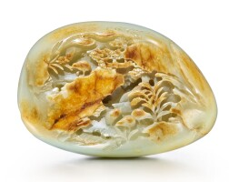 7. a rare celadon and russet jade 'quail and millet' boulder qing dynasty, yongzheng / qianlong period |