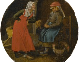 131. pieter brueghel the younger | 'the quarrelsome housewife', or 'the scolding woman and the cackling hen'