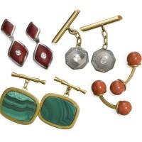 12. four pairs of 18k gold cufflinks