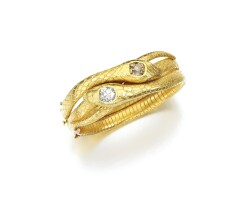 38. diamond and coloured diamond bangle, circa 1900