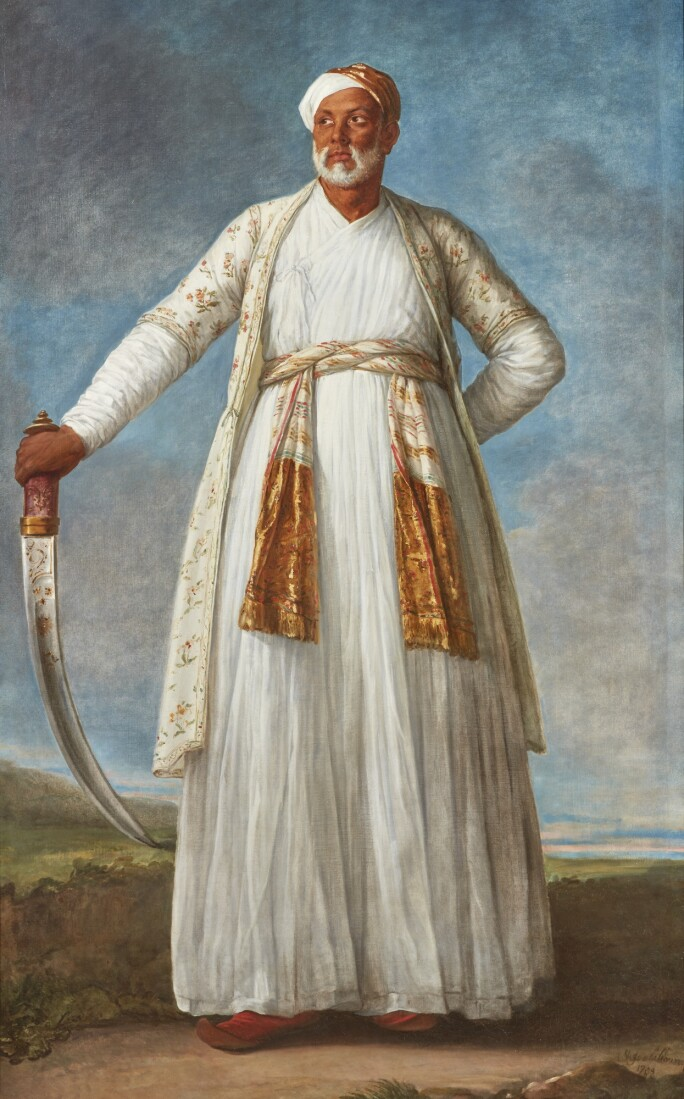 A Portrait of a Dervish in a white tunic and turban, brandishing a scimitar.