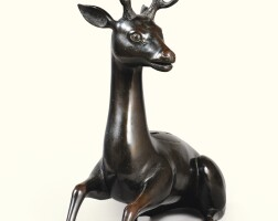 9. a large bronze deer-shaped censer and cover, japan, edo period  