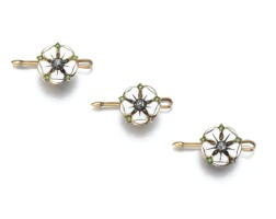 4. the set of three enamel, demantoid garnet and diamond dress buttons, english, circa 1905