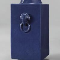 912. a blue-glazed vase (cong) qing dynasty, 19th century