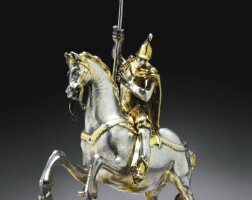 13. a german parcel-gilt silver equestrian figure of st. george, most probably melchior gelb i, augsburg, circa 1640