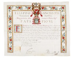14. privileges accorded to the heirs of samson morpurgo, granted by filippo lancellotti, prefect of the apostolic palace, rome: 1787