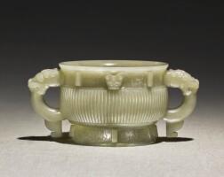 227. an archaistic celadon jade gui-form censer ming dynasty |