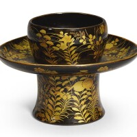 163. a lacquer teabowl stand edo period,17th–18th century | a lacquer cup stand edo period, 17th century