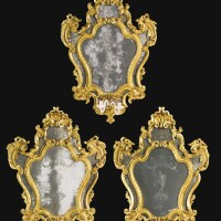43. a set of three large italian carved giltwood and engraved glass girandoles venetian, circa 1750