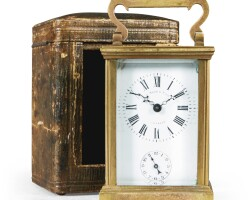 40. a small gilt-brass carriage timepiece with alarm, french, circa 1890