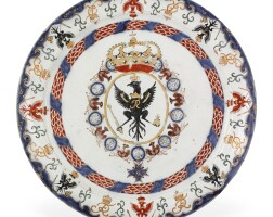 16. a dutch delft doré plate from the service made for friedrich i, king of prussia and elector of brandenburg, 1701-10