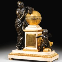 28. a patinated bronze, mercury gilt-bronze and white marble rotating circles for minutes and 24 hours devided for day and night clock named 'clio and time', louis xvi, by the clockmaker jean-andré lepaute after the architect charles de wailly and the sculptor jean-antoine houdon  