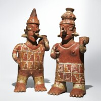 34. a nayarit standing couple, ixtlán del rio style, protoclassic, ca. 100 b.c-a.d. 250