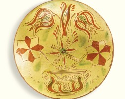 506. rare sgraffito glazed red earthenware plate with tulips and flowers in vase, john monday (1809-1862) haycock township, bucks county, pennsylvania, dated 1830