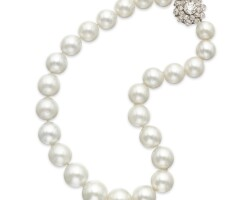 536. cultured pearl and diamond necklace
