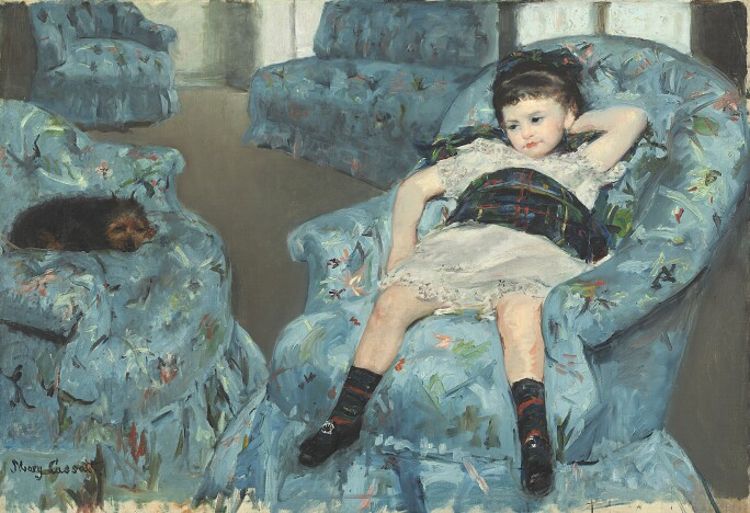 Little Girl in a Blue Armchair, 1878 (oil on canvas)