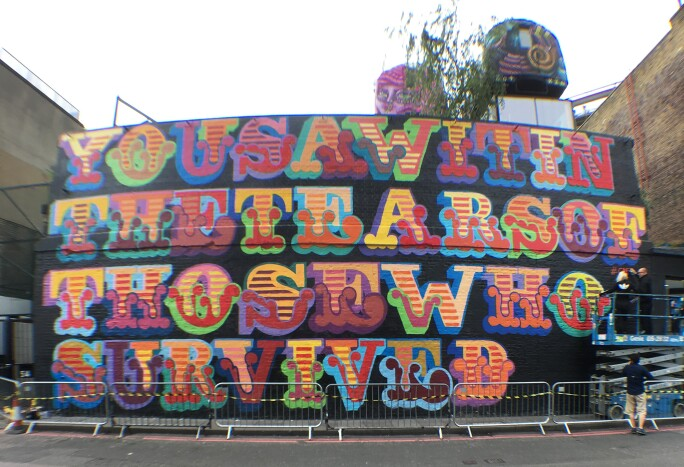 Ben Eine, You Saw It In The Tears of Those Who Survived Grenfell Tower mural Ben Okri