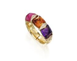 8. 黃金鑲紫水晶配黃水晶、璧璽及鑽石「alveare」手鐲, 寶格麗(bulgari)