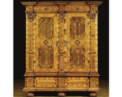 202. a south german walnut, fruitwood, satinwood and parquetry two-door cupboard, probably bavarian baroque, circa 1740