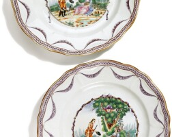 313. a pair of chinese export european subject plates, qing dynasty, qianlong period |
