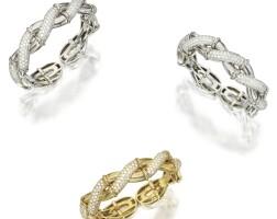 120. three diamond cuff bracelets, retailed by neiman-marcus