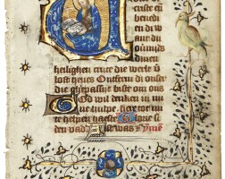 30. st anthony(?), historiated initial on a leaf from a book of hours, in dutch [northern netherlands (utrecht), c.1430-50]