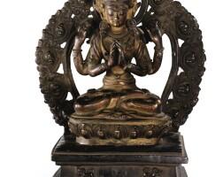 40. 十八世紀 西藏 局部鎏金銅四臂觀音坐像