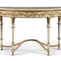 241. an italian neoclassical painted and parcel-gilt demi-lune console table, naples late 18th century
