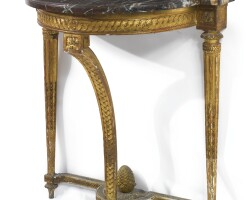 6. a louis xvi carved giltwood console table circa 1775