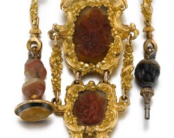 46. j. naumann, dresden   a fine gold and red agate mounted single cased verge watch with matching chatelainecirca 1750, no.384