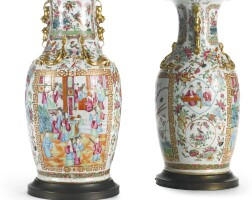 27. a pair of chinese export canton vases, now mounted as lamps