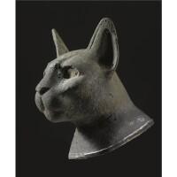 21. a bronze head of a cat, 26th/30th dynasty, 664-342 b.c.