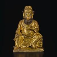 319. 十七 / 十八世紀 銅鎏金財神坐像  