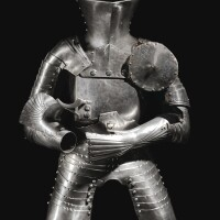 8. the vambraces, fauld and tassets: attributed to lorenz (active 1467-1515) and jörg helmschmied (active 1467-1504), augsburg, circa 1495;the backplate, breastplate and lance-rest: attributed to konrad poler (active circa 1492-1500), nuremberg, circa 1495;the left besague and waist-lame: south german, circa 1495;the helmet: south german, probably circa 1495 | a rare composite armour for the jousts of peace (orstechzeugfor thegestech)