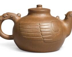 1208. an yixing 'heavenly bird' teapot and cover, signed chen zhongmei qing dynasty |
