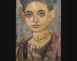 46. an egyptian encaustic on wood mummy portrait of a girl, roman period, trajanic, circa late 1st/early 2nd century a.d. | an egyptian encaustic on wood mummy portrait of a girl