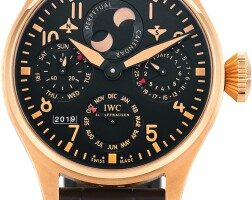 119. iwc   big pilot a limited edition pink gold perpetual calendar wristwatch with power reserve and moon phases, circa 2011