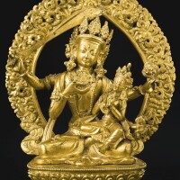 446. a gilt-bronze figure of maha-akshobya and consort nepal, dated samvat 1833, corresponding to 1777