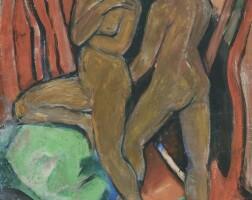 34. 弗朗茲·馬克 | 《站在綠色岩石旁的兩位裸女(正面);兩匹馬(反面)》