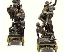 """3. after gaspard marsy (1624-81) and anselme flamen (1647-1717), """"'boreas abducting orithyia' ; and after françois girardon (1628-1715),'pluto abducting proserpina' french, 19th century"""