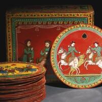 107. a boxed set of fifty-two playing cards, from the workshop of vishnu kashishnet maphseker,sawantwadi, maharashtra, circa 1900