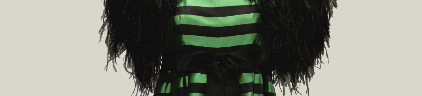 Christian Dior Green Stripe Dress in an auction selling luxury fashion