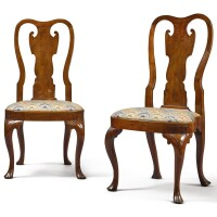 6001. very rare pair of queen anne carved walnut compass-seat side chairs, philadelphia, circa 1740