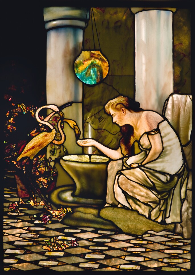 Louis Comfort Tiffany, Tiffany Studios, Maiden feeding flamingos in the court of a Roman house, c. 1892