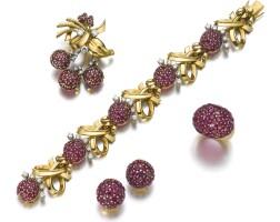 108. ruby and diamond parure, brahmfeld & gutruf, circa 1950